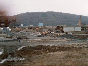 Construction du premier Super U à Algrange sur la zone du haut de l'ancienne SMK