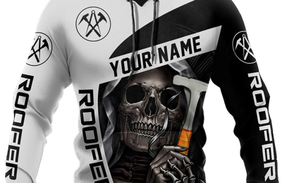 Personalized Roofer Man Skull 3D Hoodie