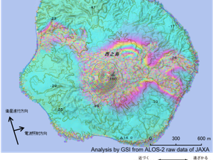 Nishinoshima - SAR interferometry- DAICHI-2 - on the left, between 17.11.2019 and 15.12.2019; right, between 06 and 20.12.2019 - GSI analysis of ALOS-2 raw data from JAXA - one click to enlarge