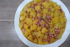 Pommes de terre fondantes et dés de jambon au cookéo