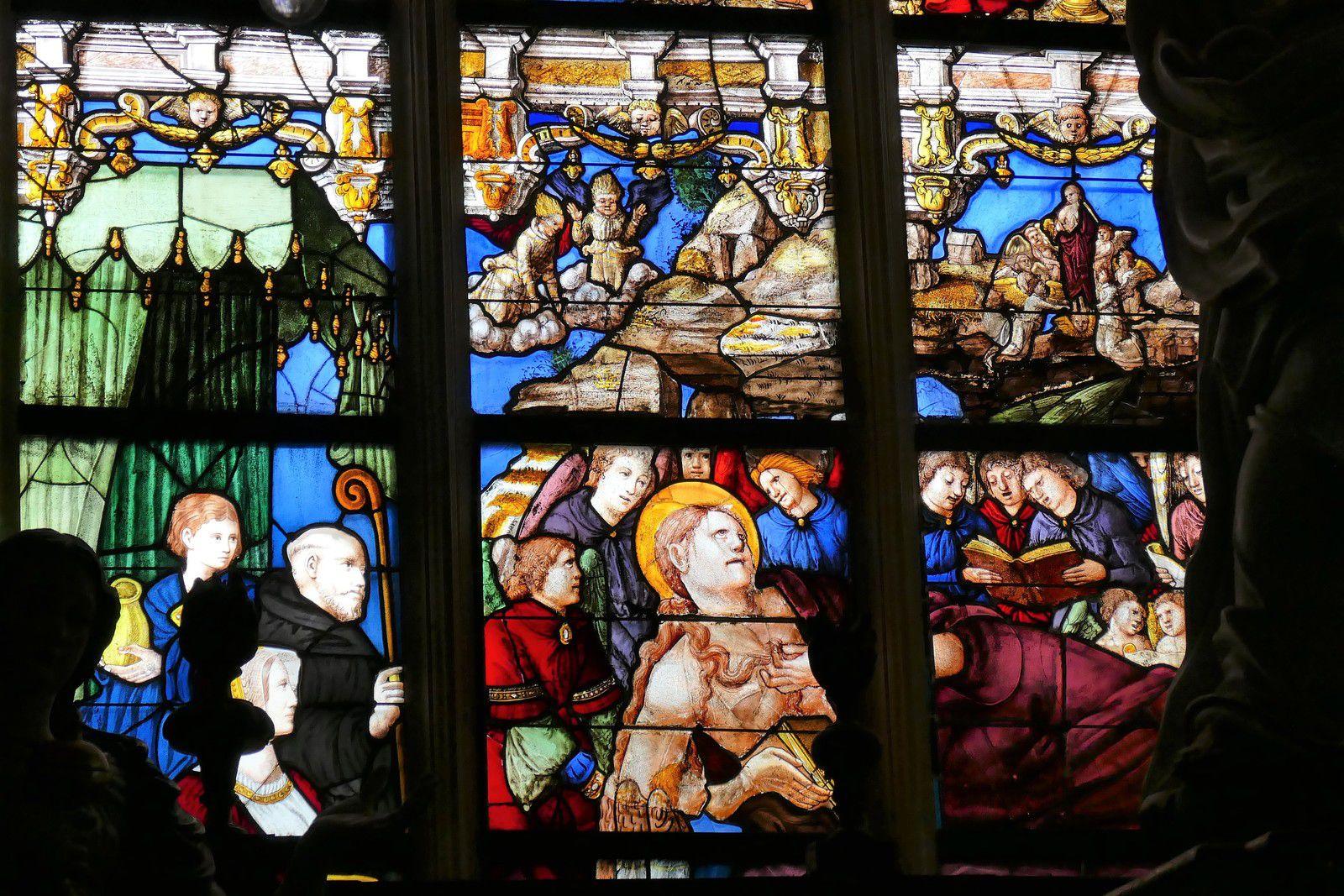 Maîtresse-vitre (1539-1541) de l'ancienne collégiale La Madeleine de Champeaux. Photographie lavieb-aile août 2020.