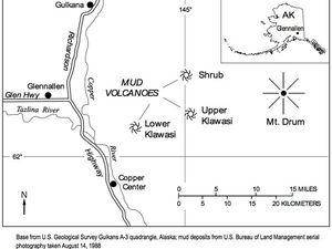 Location of the mud volcanoes Klawasi - sources: AVO / USGS - one click to enlarge
