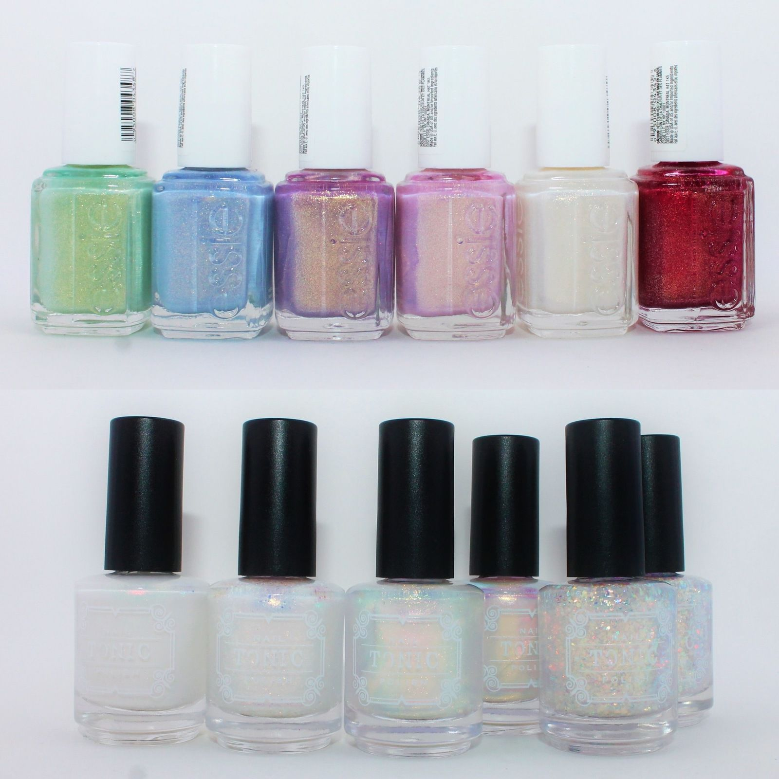 Essie Winter 2020 Collection  - Peppermint Condition, Love at Frost Sight, Sugarplum Fairytale, Bonbon Nuit, Twinkle in Time, In a Gingersnap. Tonic Polish Unicorn, Nacred, My Little Rainbow (x2), Crush (x2).