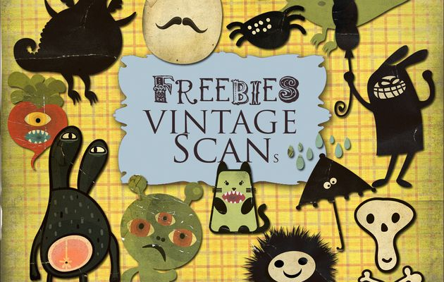 """Freebies Retro Kit - """"Monsters"""" and Kit of Retro Halloween Backgrounds for childrens"""