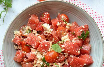 Salade pastèque tomates cerises féta et menthe - la découverte de l'été
