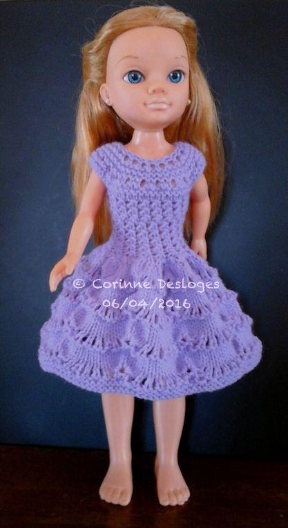 """CREA'TRICOT : Robe """"vagues d'améthyste"""" pour poupée Nancy"""