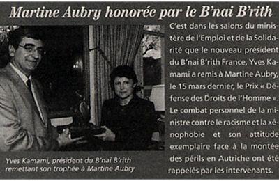 Martine Aubry honoré par le B'nai B'rith, organisation juive ou secte maçonnique
