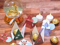 Boite - Porte Nom - Noel - Christmas - Fait Main - Fait Maison - 2020 - Triangle - Fermeture - Oiginale - Strass - Stickers - Facile