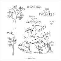 153189 De nous tous tampon enfant anniversaire stampin up ours autruche perroquet tortue singe arbre enfantin