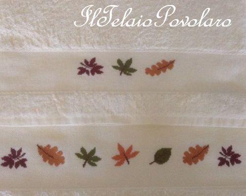 Ed infine l'asciugamano con foglie colorate, che sa di autunno