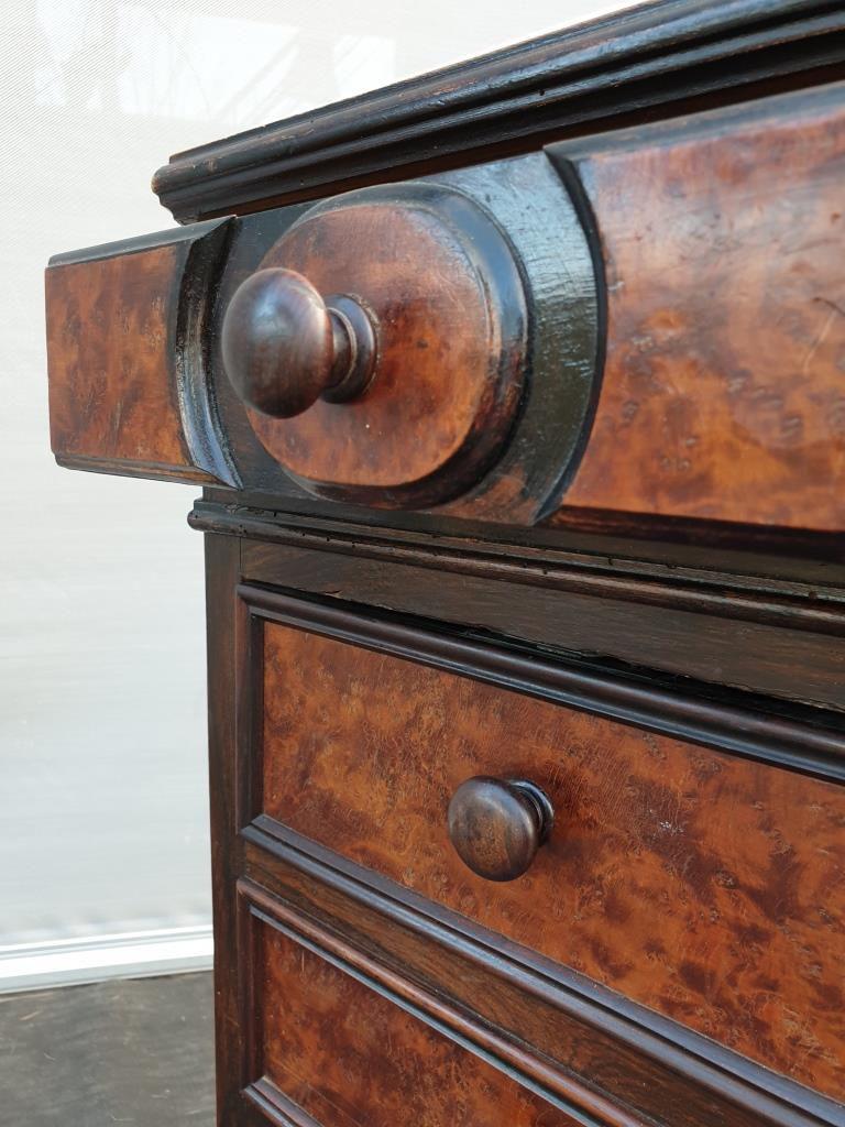 Colonne 5 tiroirs Napoléon III ronce de Noyer - 75 euros
