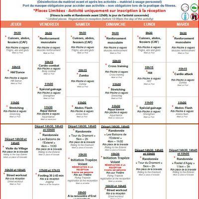 Programme des animations pour la période du 13/18 Mai
