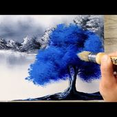 Blue Tree | Black and White Landscape | Easy Painting for Beginners | Abstract | Acrylics