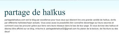 Blog Partage de haikus de Véronique Champoux