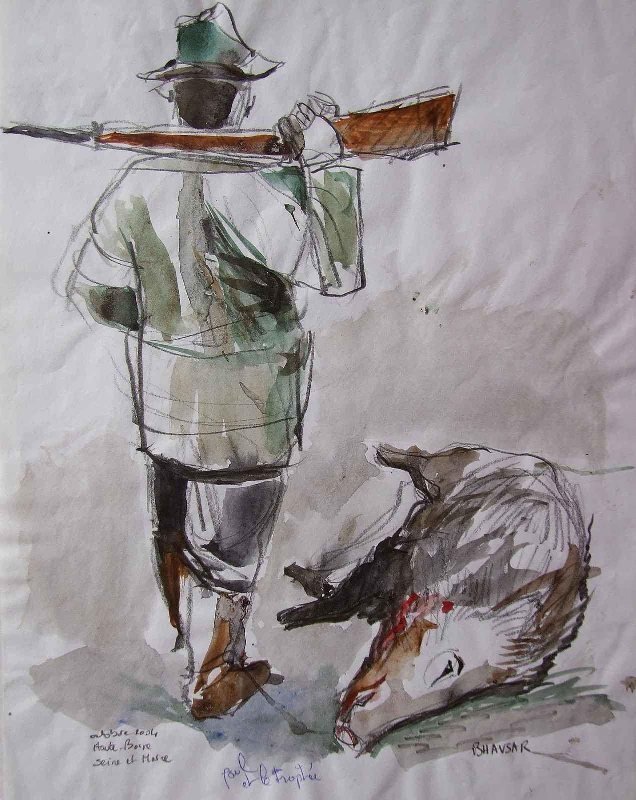 En suivant les chasseurs, ma seule arme est mon pinceau. C'est plus inoffensif pour les animaux, et je m'en porte tout aussi bien.