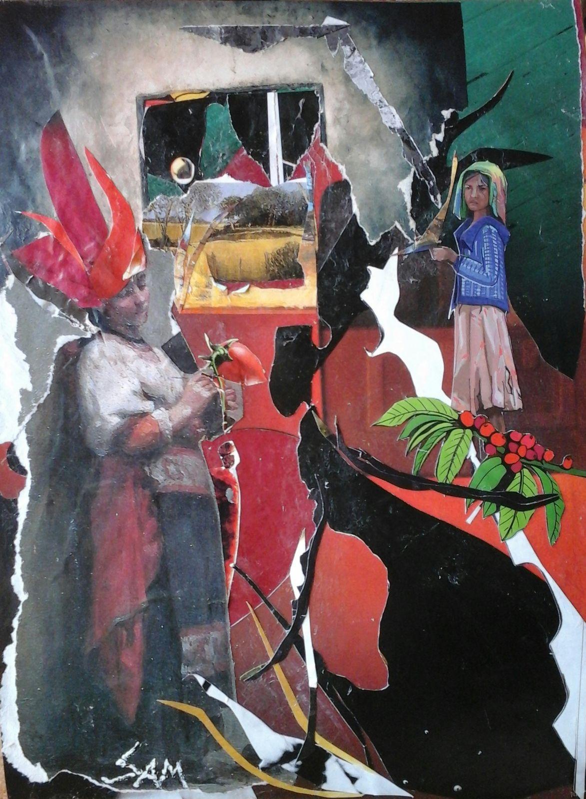 """""""  AILLEURS  """"  Composition, collage, montage papier, collé sur un support feuille cartonnée. haut 24 cm largeur 17 cm  """"  D' autres gens, une autre vie.  """""""