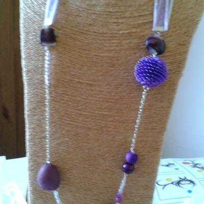 Sautoir violet/chaine