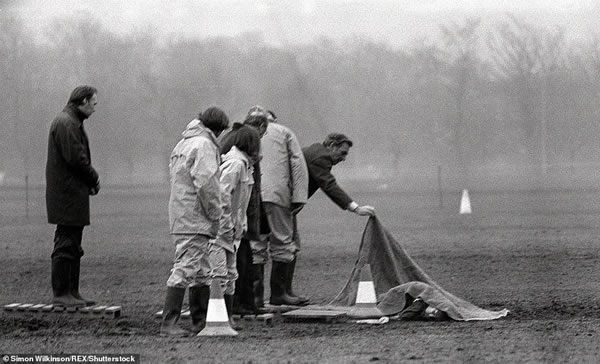 At his Old Bailey trial in 1981, Sutcliffe was convicted of murdering 13 women and attempting to kill seven others. Although he is suspected of further attacks, this places him third in the grim table of recent British serial killers, behind Harold Shipman and Dennis Nilsen. (Pictured: Police uncovering the body of Josephine Whitaker in 1979)