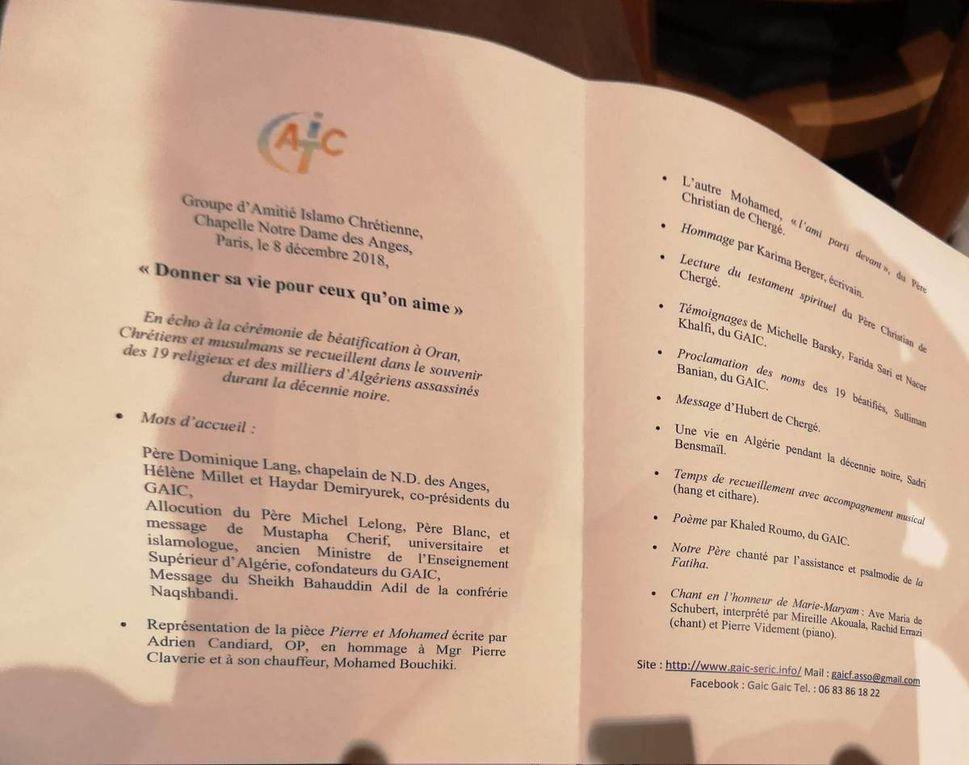 """SERIC 2018 :  PARIS - Retour sur le temps """"Donner sa vie pour ceux qu'on aime"""" en écho avec la béatification des 19 martyrs d'Algérie le 8 décembre 2018 à ORAN"""