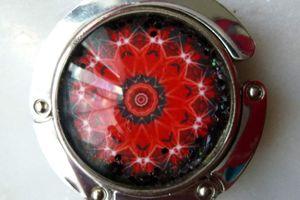 Rose Rouge - Accroche sac pliable décoré d'un mandala original du langage des fleurs