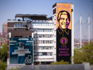 "Hommage à Nelson Mandela, ""The purple shall govern "" Johannesburg (2014)"