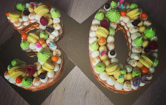 Number Cake Sans Gluten - 100% Pêché de Gourmandise - Crème citron / Ganache Chocolat Blanc (30 ans) - pour 20 personnes