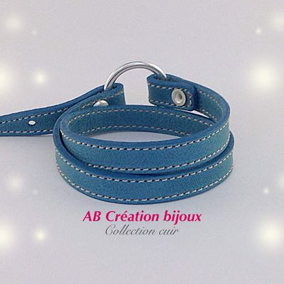 Bracelet en cuir double tour femme ajustable nouvelle collection en vente sur http://ab-creation-bijoux.alittlemarket.com