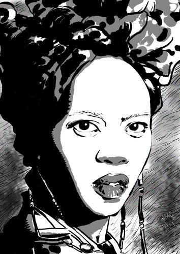Alfre woodard dessin illustration art black an white