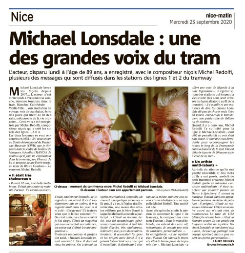 — article Nice-Matin du 23 sept. '20