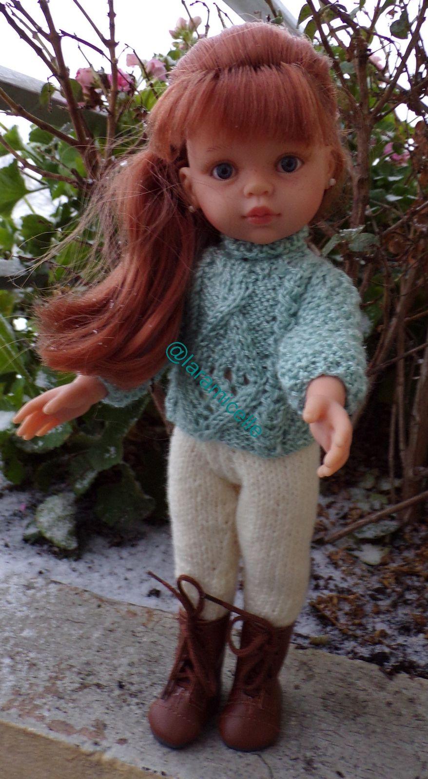 tuto gratuit  poupée  : pull irlandais ajouré au col roulotté ajouré