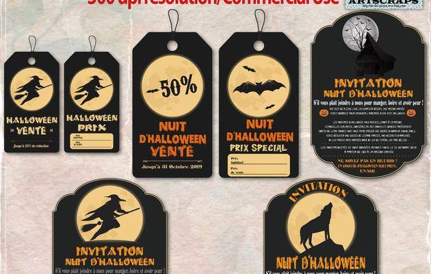 Vintage Illustrations Halloween Labels - Étiquettes thème Halloween en téléchargement