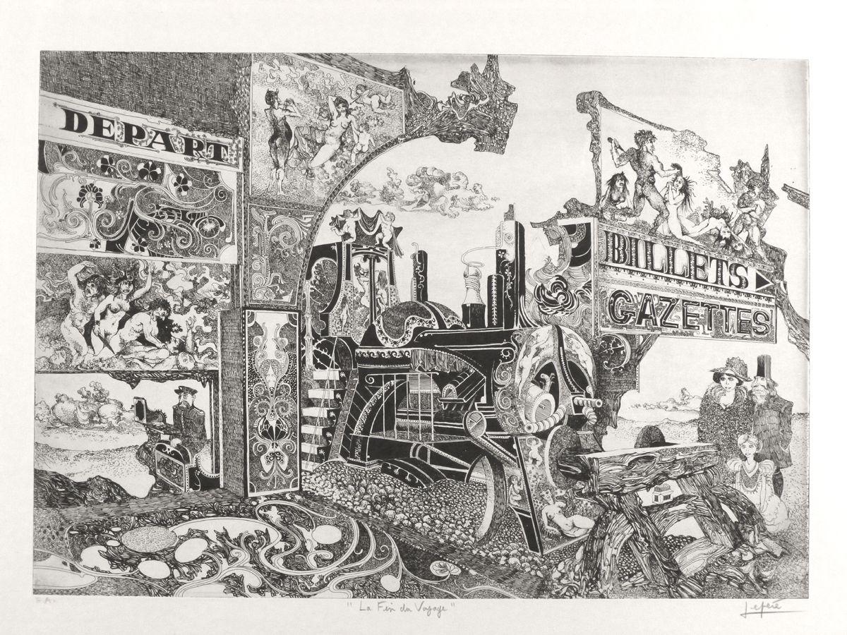 """""""La fin du voyage"""" - gravure à l'eau-forte - imprimée sur papier Arches format raisin - 1970"""