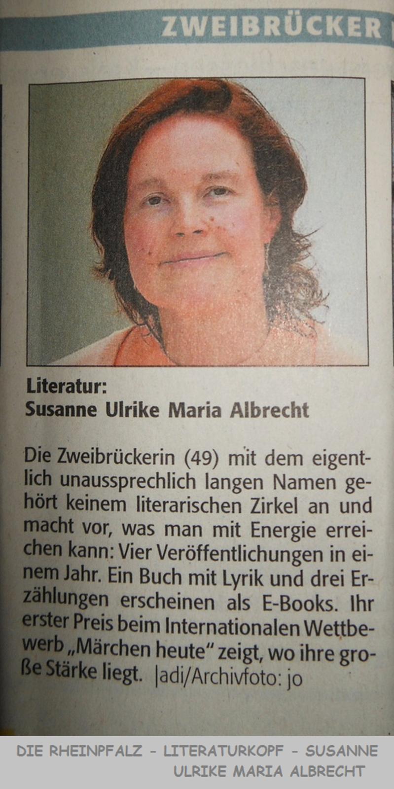 30. Dezember 2016  DIE RHEINPFALZ  Susanne Ulrike Maria Albrecht