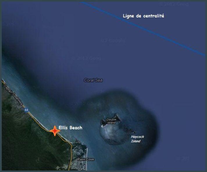 Emplacement du point d'observation sur la plage d'Ellis Beach à 7kms de la ligne de centralité