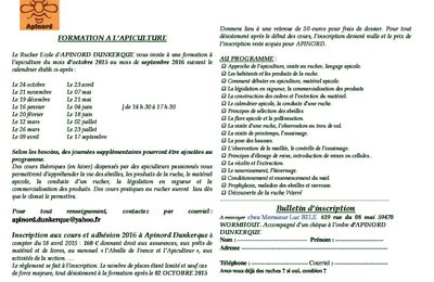 Apinord Dunkerque : Formation Apicole 2015-2016