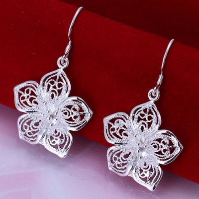 High quality silver plated beautiful flower earrings hot selling fashion jewelry  (7) $5.99 free shipping You save 55% off the regular price of $13.33