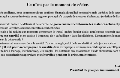 La tribune du groupe communiste au Conseil départemental du Pas-de-Calais (décembre 2020)
