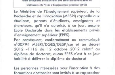 Communiqué du Ministère de l'enseignement supérieur et de la recherche relatif aux candidats à l'inscription à l'école doctorale