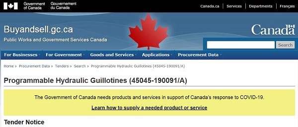 """Canadá. El gobierno adquiere """"Guillotinas hidráulicas programables"""" necesarias """"para apoyar la respuesta al COVID-19"""""""