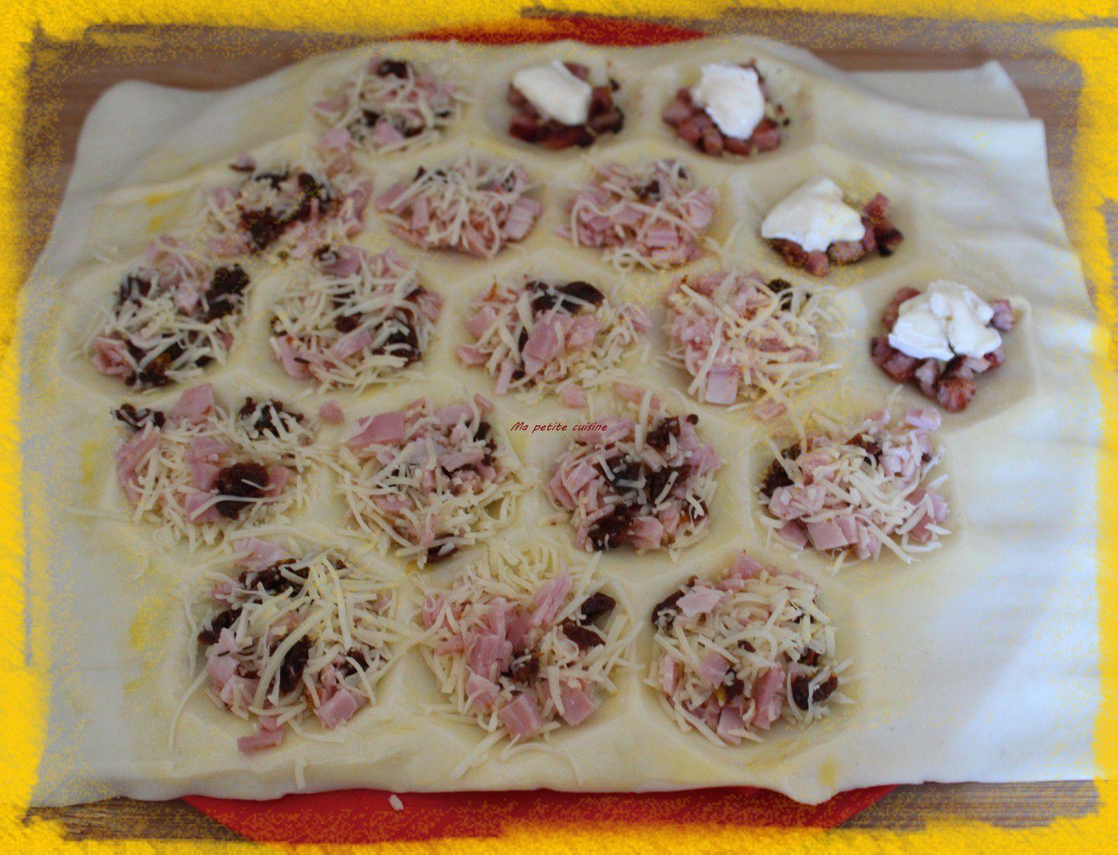 Mini feuilletés jambon, fromage et tomates séchés