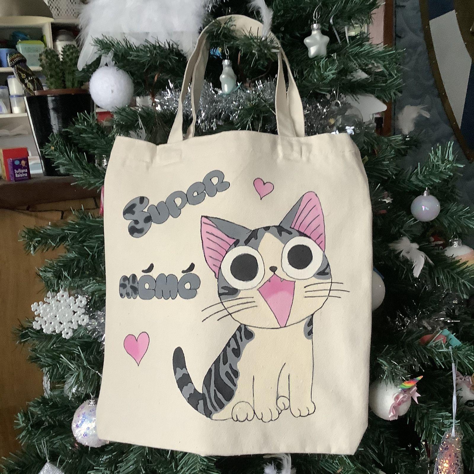 Peinture textile: totebag «chi une vie de chat»