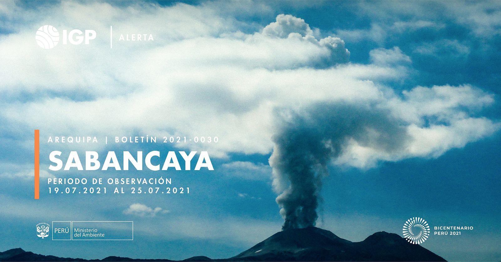Sabancaya - activity from July 19 to 25, 2021 (bifid plume) - photo I.G. Peru