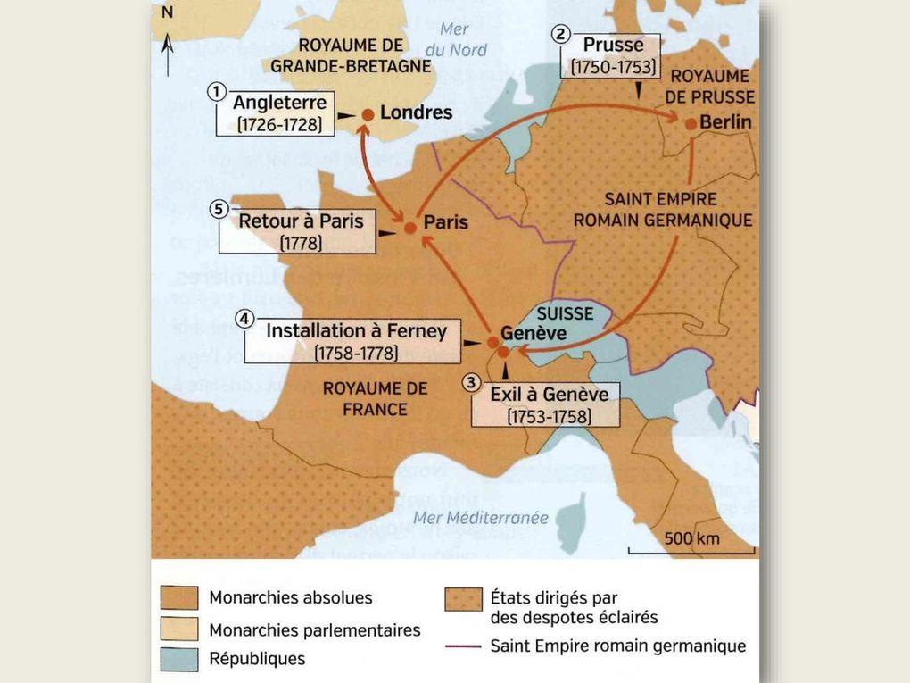 Cartes des voyages de Voltaire, de Rousseau et du jeune Mozart