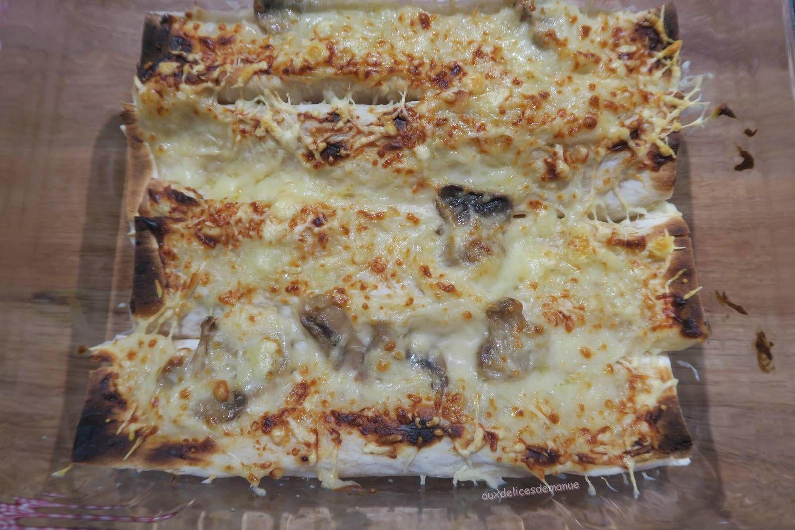 lavash,galette,wrap,sandwich,champignons,béchamel,sandwich chaud,cuisine facile,cuisine rapide