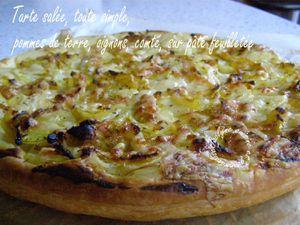 Tarte salée, toute simple, pommes de terre, oignons, comté, sur pâte feuilletée *Plat ou mises en bouche*
