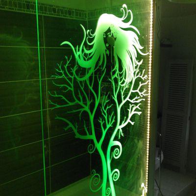Paroi de douche gravé avec éclairage LED