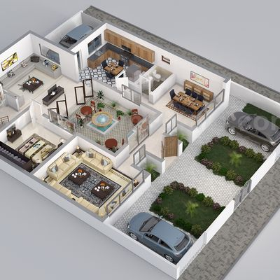 Residential 3D Floor Plan Rendering by Yantram Architectural Design Studio, Austin – Texas