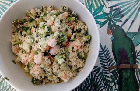 Taboulé 🌾 vert  🍃 aux crevettes 🍤