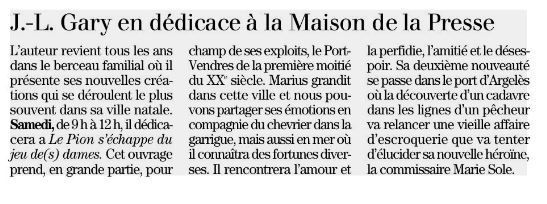 PORT-VENDRES, L'INDEPENDANT DU 11 JUILLET 2019.