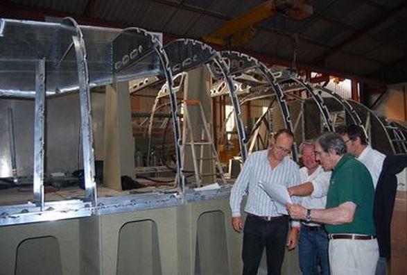 Jimmy Cornell au chantier Garcia Yachting pour suivre l'avancée de son Garcia Exploration 45